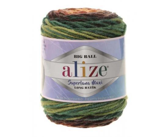 Пряжа ALIZE SUPERLANA MAXI LONG BATIK 6775 вишня/зелень, Цвет: 6775 вишня/зелень