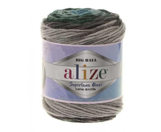 Пряжа ALIZE SUPERLANA MAXI LONG BATIK 6777 голуб/зелень, Цвет: 6777 голуб/зелень
