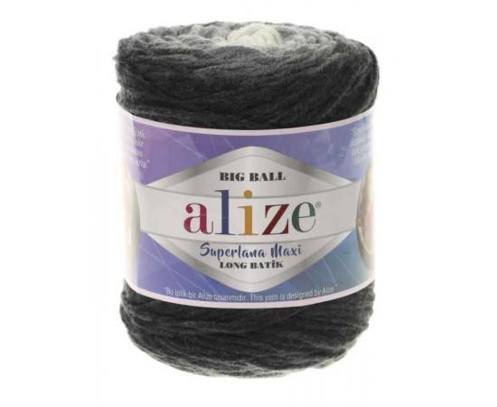 Пряжа ALIZE SUPERLANA MAXI LONG BATIK 6767 темно-серый принт, Цвет: 6767 темно-серый принт