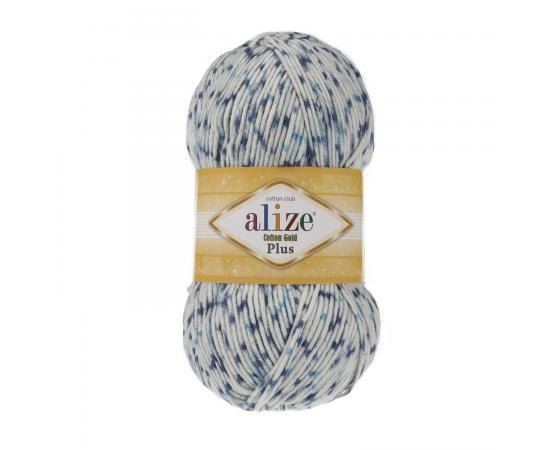 Пряжа ALIZE COTTON GOLD PLUS 6840 бело-синий принт, Цвет: 6840 бело-синий принт