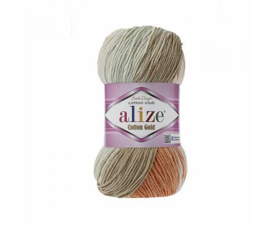 Пряжа ALIZE COTTON GOLD BATIK 7103 корич/рыжий/св.бирюз, Цвет: 7103 корич/рыжий/св.бирюз