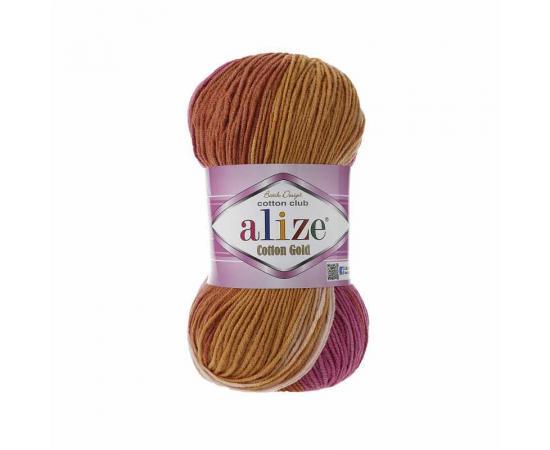 Пряжа ALIZE COTTON GOLD BATIK 7107 рыжий принт, Цвет: 7107 рыжий принт