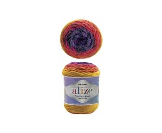 Пряжа ALIZE SUPERLANA MAXI LONG BATIK 6782 желт/оранж/фиолет, Цвет: 6782 желт/оранж/фиолет, изображение 2