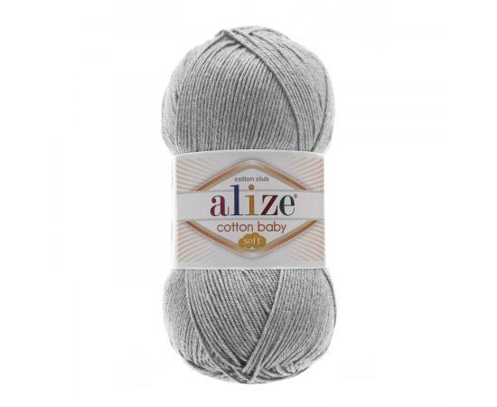Пряжа ALIZE COTTON BABY SOFT 21 серый меланж, Цвет: 21 серый меланж