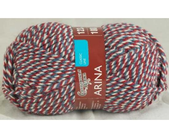 Пряжа Семеновская АРИНА ПШ 4615 мозаика213А (красно-джинсовый), Цвет: 4615 мозаика213А (красно-джинсовый)