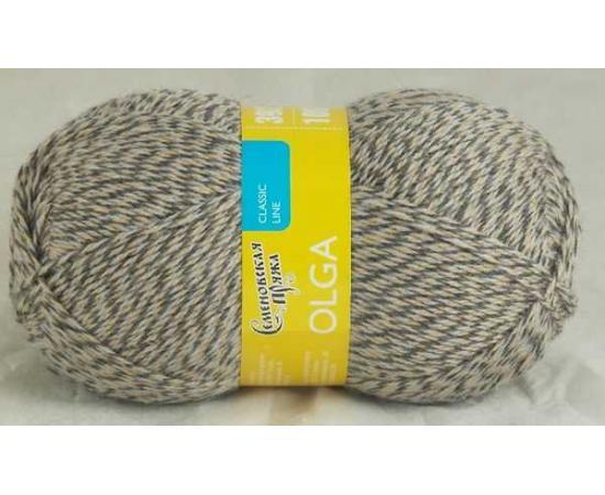 Пряжа Семеновская ОЛЬГА ПШ 7439 мозаика779 (серый-песок), Цвет: 7439 мозаика779 (серый-песок)