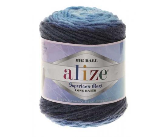 Пряжа ALIZE SUPERLANA MAXI LONG BATIK 6773 синий, Цвет: 6773 синий