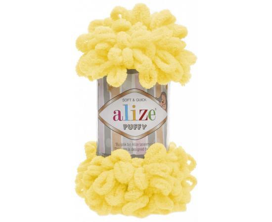 Пряжа ALIZE PUFFY 216 желтый, Цвет: 216 желтый