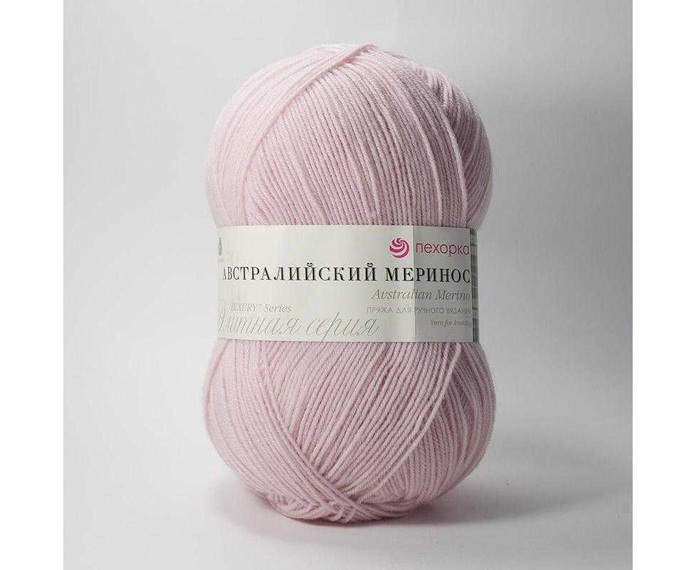 Пряжа ПЕХОРКА АВСТРАЛИЙСКИЙ МЕРИНОС 374 розовый беж, Цвет: № 374